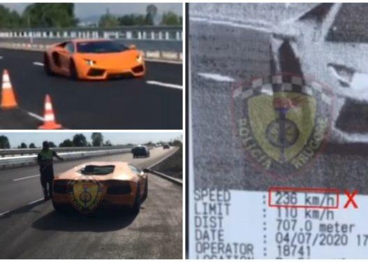 Lamboja portokalli në Fier si në Fast&Furious! Djeg gomat me 236 km/h