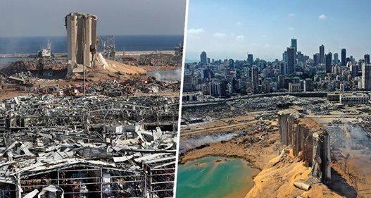 Pamjet shokuese nga ajëri, tregojnë forcën shkatërruese të shpërthimit në Beirut