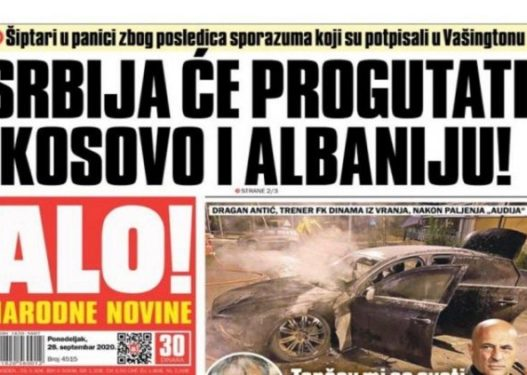 """Mediat serbe ironizojnë me shqiptarët/ """"Frikohen se Serbia do të gëlltitë Kosovën dhe Shqipërinë"""""""