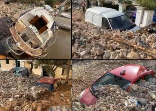 """Kaosi që shkaktoi cikloni """"lanos"""" në Kefalonia, dhjetëra makina fundosen mes gurëve e baltës"""