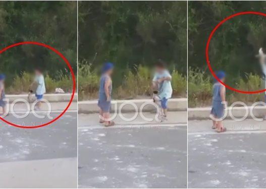 Fëmijët lidhin prej fyti qenin e vogël, e rrotullojnë disa herë dhe e hedhin në kanal