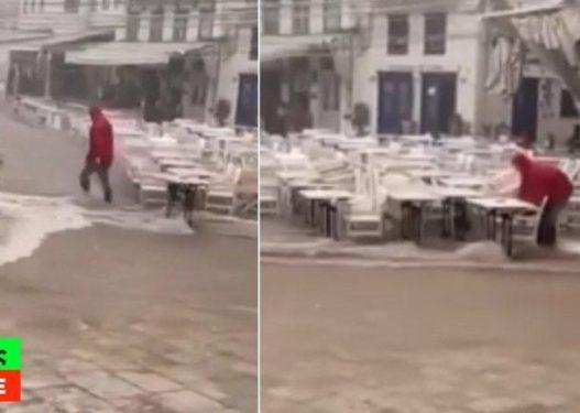 Pamje të reja/ Vijon paniku në Greqi, stuhia godet ashpër ishullin, shkakton dëme të shumta