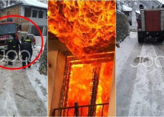 Dalin pamjet/ 42-vjeçari u dogj brenda banesës, banori i fshatit: Zjarrfikësja ra në kanal para se të fikte zjarrin!