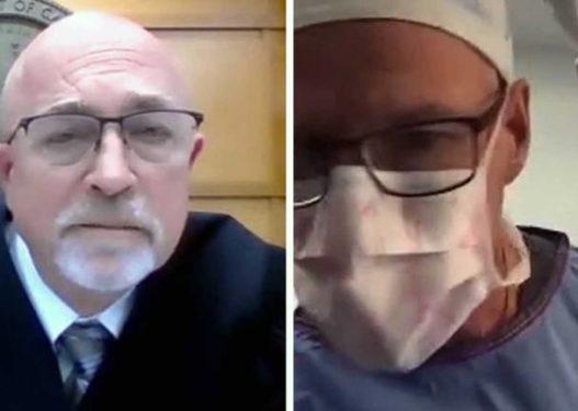 I habit të gjithë! Kirurgu paraqitet në seancën gjyqësore në 'Zoom' duke operuar një pacient