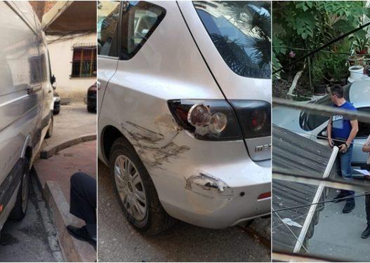 """Ishte i mbushur me sirianë, furgoni shkatërron makinat brenda lagjes te """"Rruga e Elbasanit"""""""