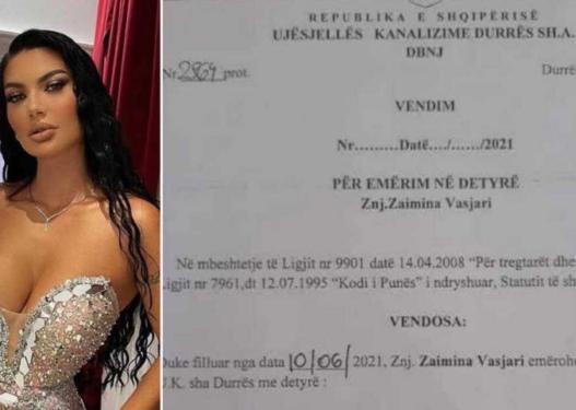 Dokumenti/ Zaimina Vasjari punësohet si specialiste në Ujësjellësin e Durrësit