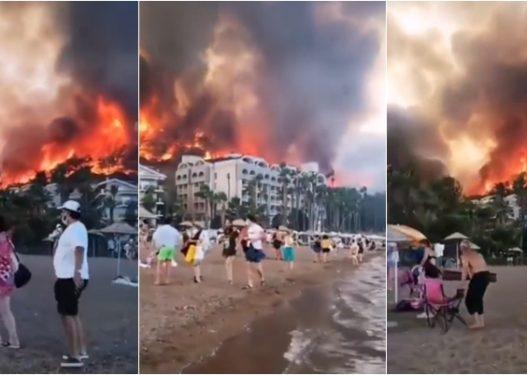 Pamje të frikshme në Turqi/ Zjarret masive përfshijnë vendet turistike, turistët të tmerruar