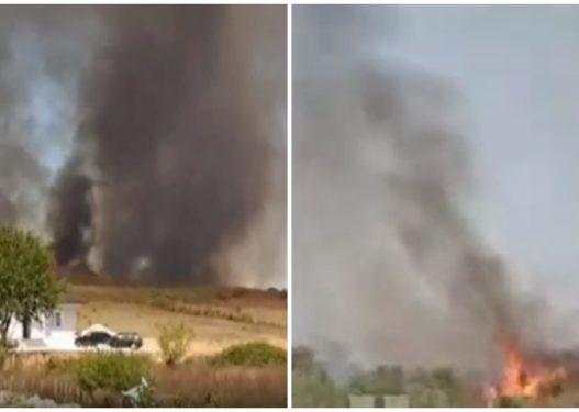 Zjarri i madh në Derven të Krujës djeg 20 hektarë tokë, shpërthejnë disa municione